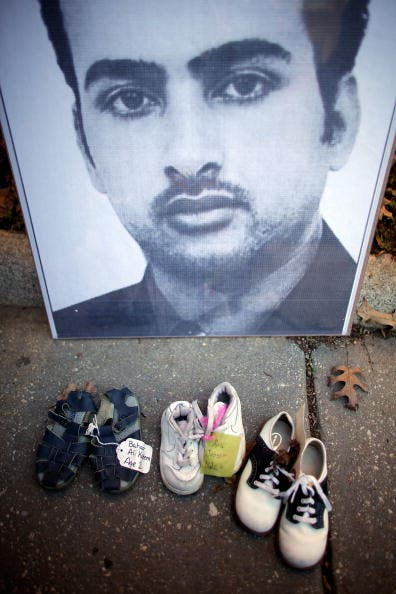 A poster of Iraqi journalist Muntazer Al-Zaidi, who famously threw a shoe at President George Bush in 2008.