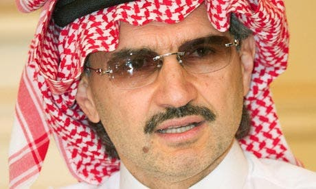 Prince Alwaleed bin Talal was ranked number one in Arabian Business Magazine's World's 500 Most Influential Arab list of 2013 (File Archive)