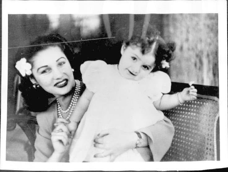 Princess Shahnaz as a a young girl with her mother, the beautiful princess Fauzia of Iran. (Image courtesy of Flikr.com)