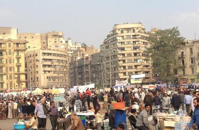 Protestors gather in Tahrir Square, Cairo