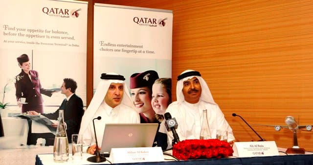 Qatar Airways CEO, Akbar Al Baker, speaking during the press conference