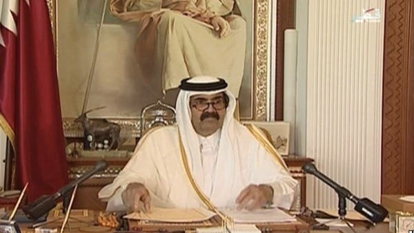 Qatar's Sheikh Hamad bin Khalifa al-Thani, who announced early this morning on state television that he would transfer his power to his son Sheikh Tamim. (Screen grab of Qatar state television, courtesy of Al Arabiya)
