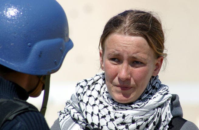 Rachel Corrie, victim of bulldozing to death in Israel, 2003,  while protesting the Palestinian right to shelter and to challenge the 