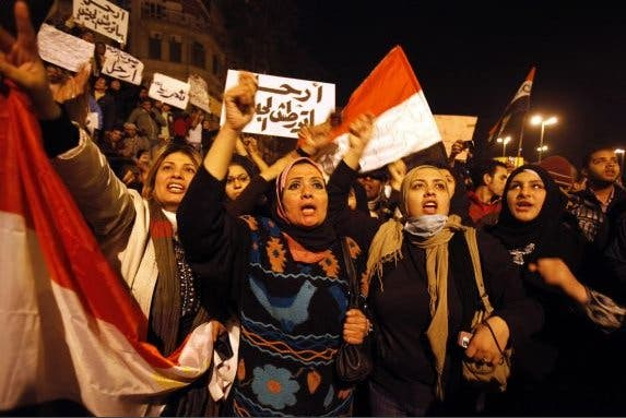 Women are not taking a backseat in Egypt's raging political scene. (Image courtesy of