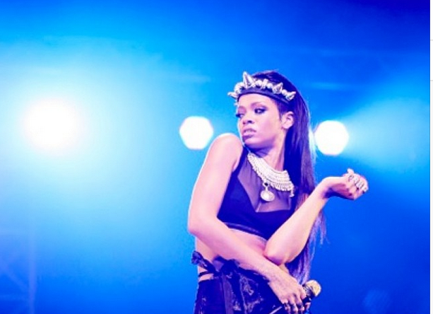 Rihanna onstage in Tel Aviv, where she remained decidedly unpolitical. (Instagram)