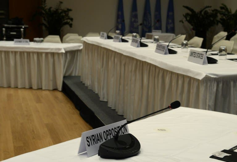 A picture taken on January 20, 2014 in Montreux shows the place of the Syrian opposition representative in the Syria peace conference room at the conference centre