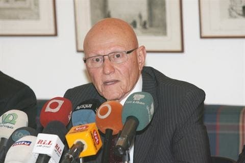 MP Tamam Salam speaks during a news conference. (The Daily Star/Hasan Shaaban)