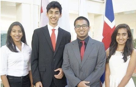 From left: Mitali Mirle, president of general assembly; Farhan Farooqui, deputy secretary general, Abhinav Menon, secretary general, Anvita Achar, deputy secretary general