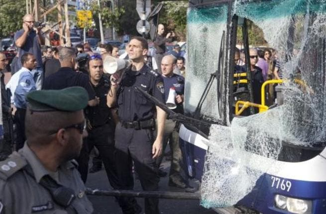 Israeli security and emergency medical forces respond to a bus bombing in central Tel Aviv, November 21, 2012. Ten people were injured in the blast that complicated diplomatic efforts for a ceasefire between Israel and Hamas in Gaza. (UPI/Mati Milstein)