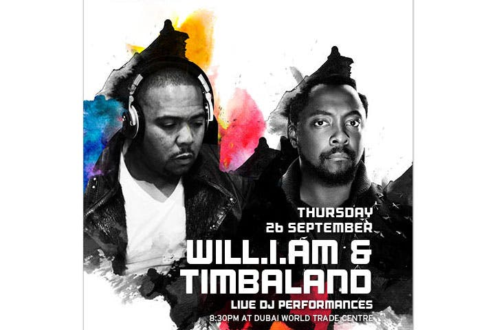 You can now buy tickets to watch Timbaland and will.i.am Live at Dubai Music Week. (Image: Ticketmaster)