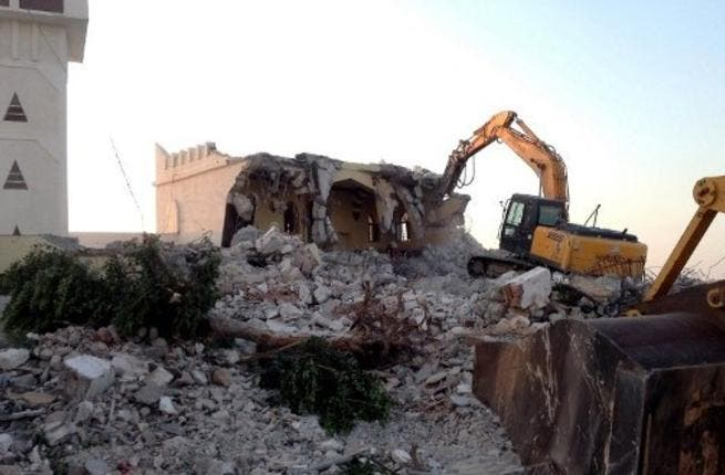 The wreckage of the Sufi mosque