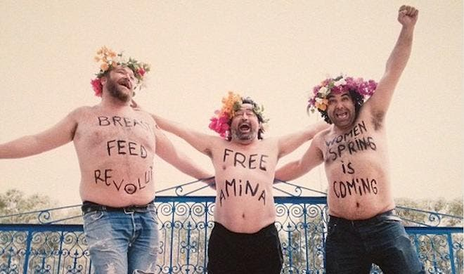 Three men in Turkey spoof the Femen movement. (Photo courtesy of Your Middle East)