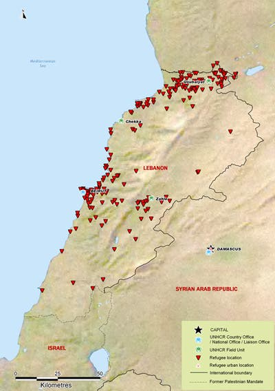 A map depicting refugee locations throughout Lebanon (Source: UNHCR)