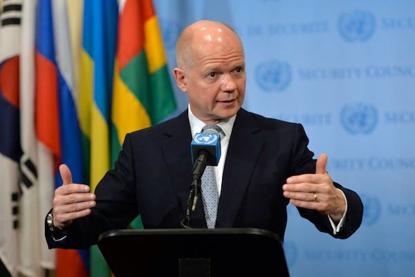 British Foreign Secretary William Hague speaks before a meeting of the United Nations Security Council on Women and Peace and Security and Sexual Violence in Conflict on Monday at UN HQ in New York. (AFP)