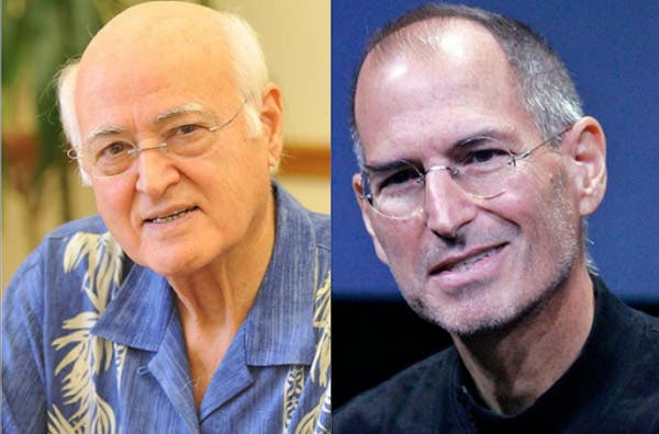 'Steve is my son and I did not intend to abandon him'. John Abdul Fattah Jandali, father of Steve Jobs, born in 1934 in Homs in Syria.(Right) Steve Jobs. Image credit: supplied.