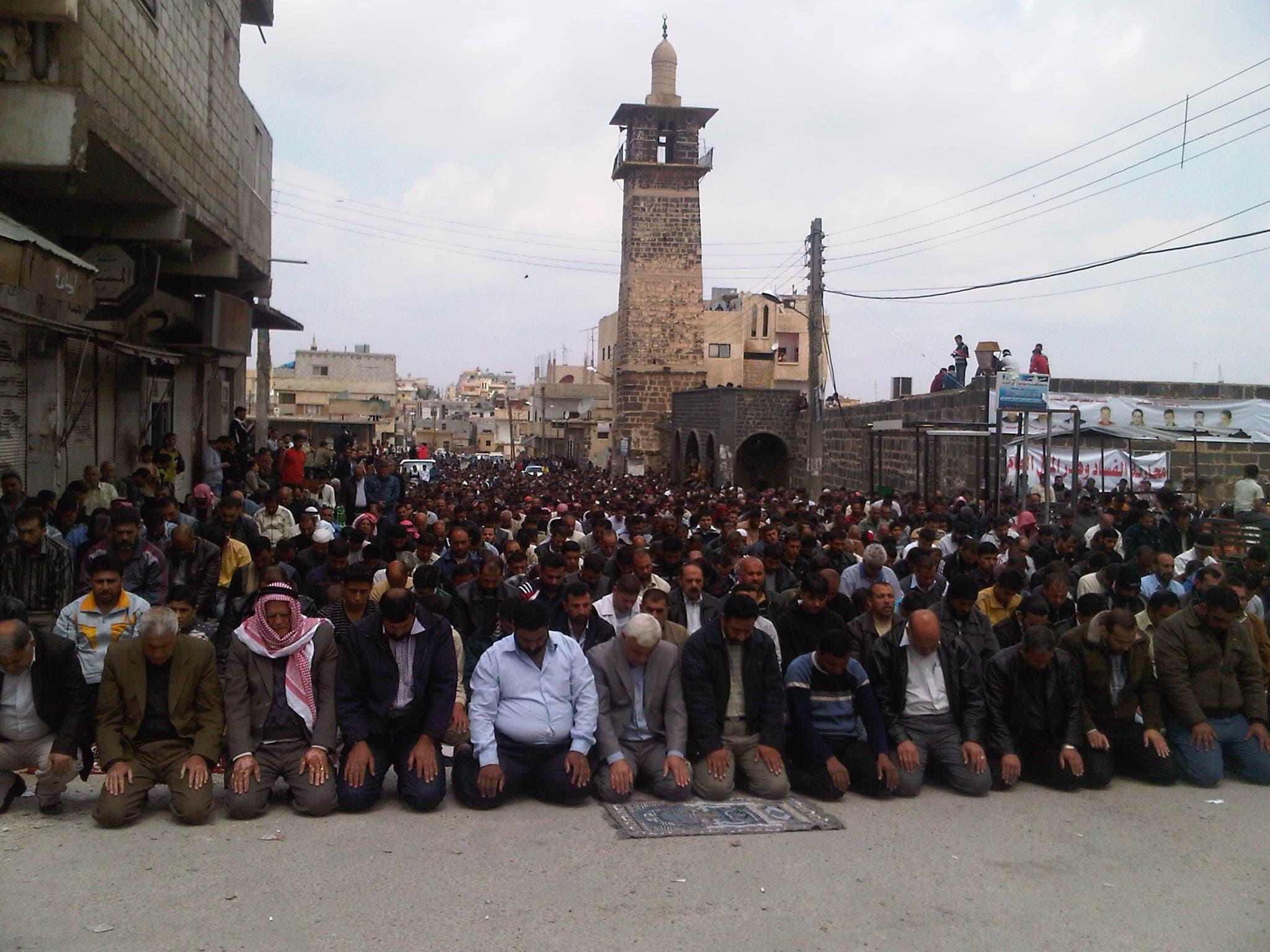 People gather at Daraa's Omari mosque