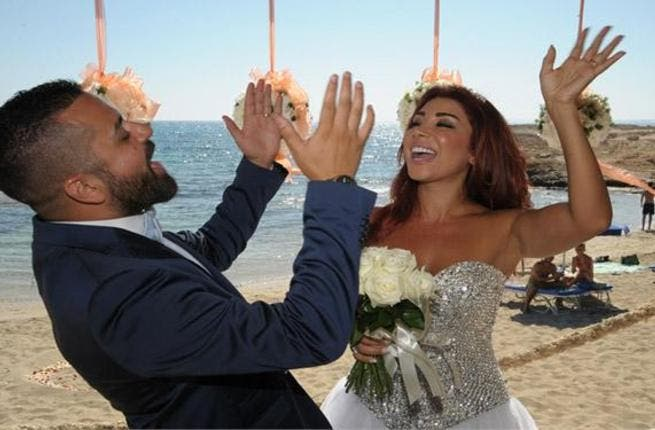 Elaine Khalaf with her hubby Calro Aroub in Cyprus. (Image: Facebook)