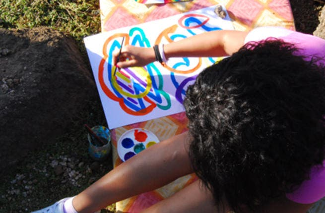 Art Therapy session in Heisa Island, Aswan, 2011.