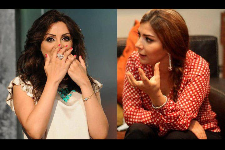 Asala Nasri and Angham can't believe what happened! (Images: Facebook)