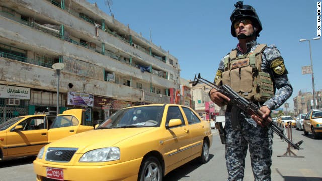 A roadside bomb explosion killed three people Saturday at a checkpoint in Youssifiyah (Courtesy of CNN)