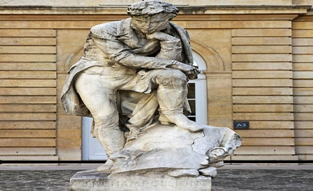 The statue was carved in 1875 by Frédéric-Auguste Bartholdi and is located in the main courtyard of the Collège de France. (Photo courtesy of Al Ahram Online)