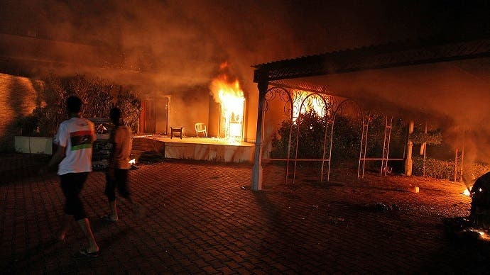 The U.S. consulate compound in Benghazi late on September 11, 2012 (AFP/File)