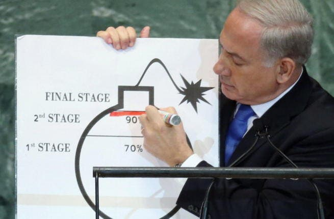 The now infamous occasion on which Israeli Prime Minister Benjamin Netanyahu brought a cartoon drawing of Iran's bomb to the UN assembly. (AFP/File)