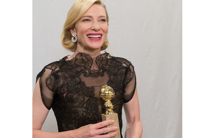 Cate Blanchett with her Golden Globe award in hand (Image: Facebook)