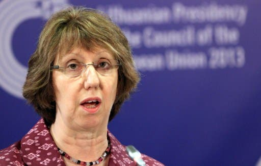 U's foreign policy chief Catherine Ashton addresses the media after a meeting of Ministers for Foreign Affairs in Vilnius on September 7, 2013. (AFP)