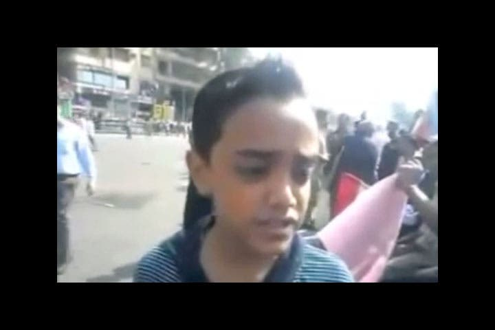 A YouTube screenshot of the boy who labelled ousted President Morsi's government as a 'fascist theocracy' (YouTube screengrab)