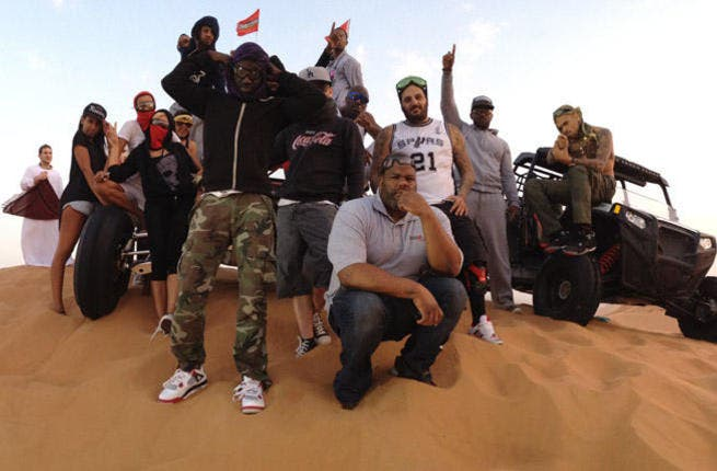 Chris Brown went quad biking with his possy in the UAE (Photo: Twitter)