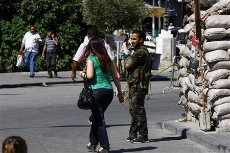 An army checkpoint in the Syrian capital Damascus (File photo: AFP)