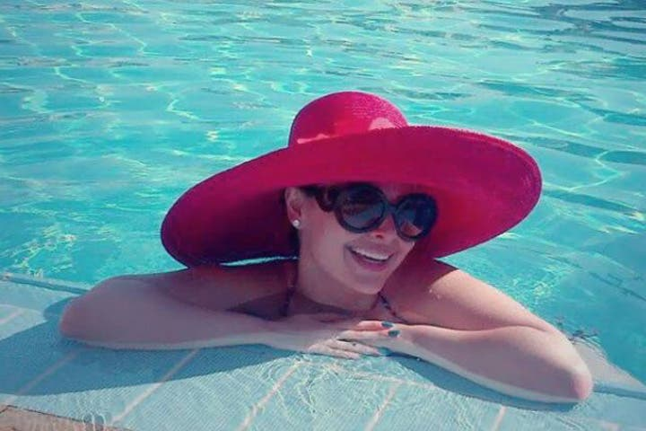Pool time: Diana was criticized for posting a picture of her while relaxing in a swimming pool. (Image: Facebook)