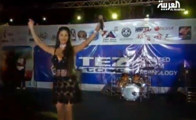 Lebanese singer, Doli Shahin, performing in the Red Sea tourist city of Ghardaka. The Muslim Brotherhood's sponsorship of the concert has angered salafists in Egypt. (Al Arabiya)