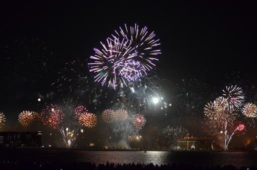UAE broke the world record for the biggest fireworks display on Wednesday (Sahdi Ibrahim/AFP)