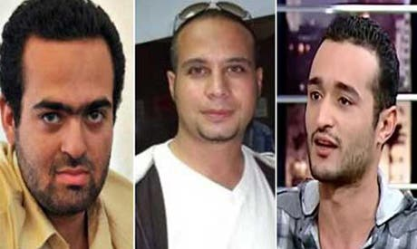 Ahmed Douma, Ahmed Maher, and Mohamed Adel face charges for violating Egypt's new protest law (Courtesy of Ahram Online)