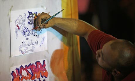"""El-Fan Midan is calling for artists to help paint a mural entitled """"The Revolution Continues"""" on 31 January and 1 February."""