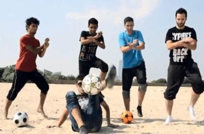 Five freestyle football fanatics have put Dubai on the 'Gangnam Style' map with their own twists - and turns - on the dance craze.
