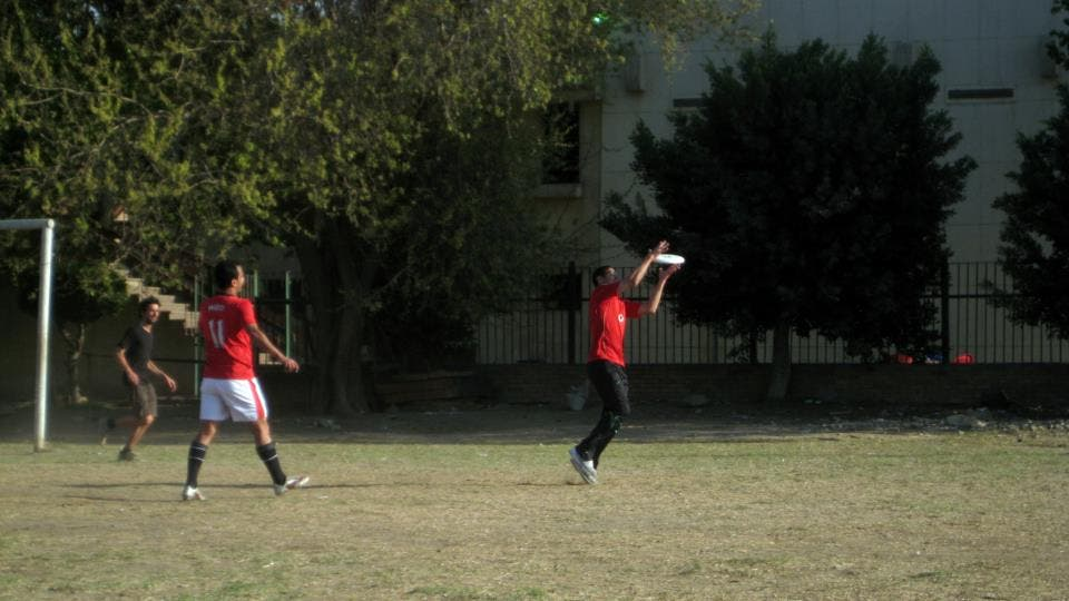 One of the Ultimate Frisbee team shows off his skills in being in the right place at the right time (Photo: Ultimate Frisbee Egypt)