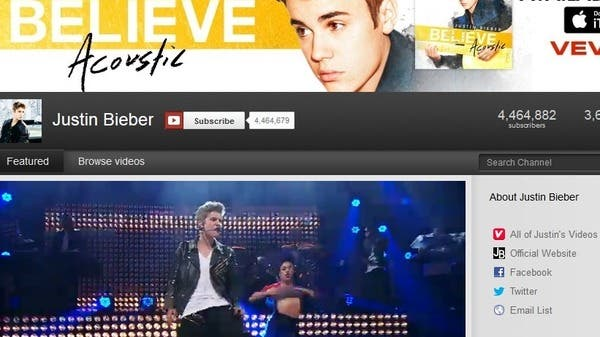"""For internet talents wishing for the """"YouTuber-turned-celebrity"""" dream to come true, just like that of American pop sensation Justin Beiber, Google says it can offer a helping hand. (Snapshot: Beiber's YouTube page)"""