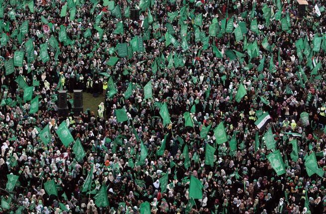 Saturday's rally (Photo courtesy of Mahmud Hams / AFP)