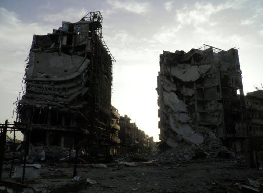 A handout picture released by Syria's opposition-run Shaam News Network shows destruction in the central city of Homs on April 7, 2013. (AFP PHOTO / HO / SHAAM NEWS NETWORK)