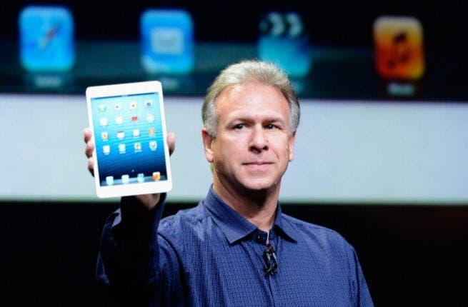 Phil Schiller, Apple Senior Vice President of Worldwide product marketing, with the new  iPad Mini