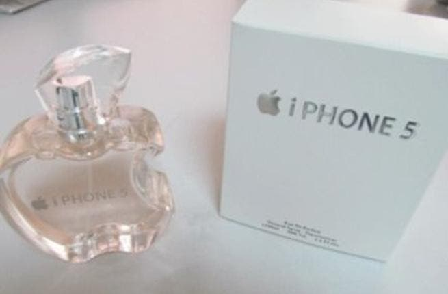 iPhone 5 perfume with matching Apple-style bottle.