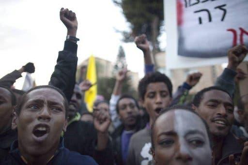 Ethiopian Jews in Israel protest against racism on January 18 in Tel Aviv.