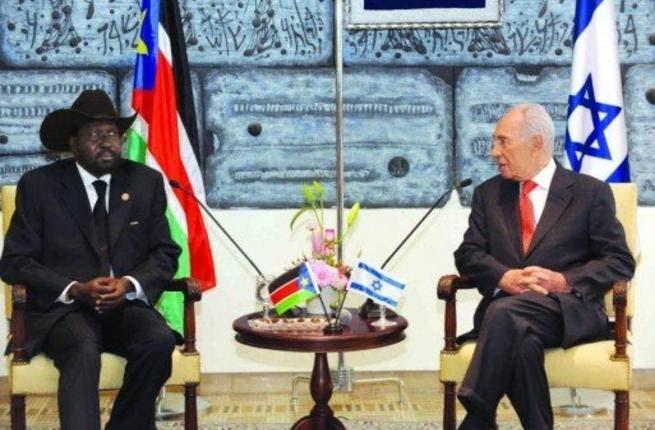 South Sudan President Salva Kiir with Israeli President Shimon Peres