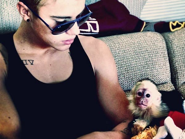 Justin Bieber had to leave a monkey in quarantine after landing in Germany last week without the necessary papers for the animal, an official said Saturday.