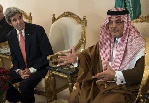 Kerry met with Saudi Arabia's King Abdullah following his 4-day visit to Israel and the Palestinian territories last week (Brendan Smialowski/AFP)