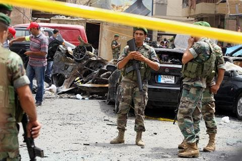 Lebanon security forces stand whilst on duty in Beirut (Image via The Daily Star)