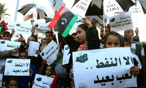Libyans took to the streets in Tripoli this week in protest of months-long blockades of oil terminals (Mahmud Turkia/AFP)